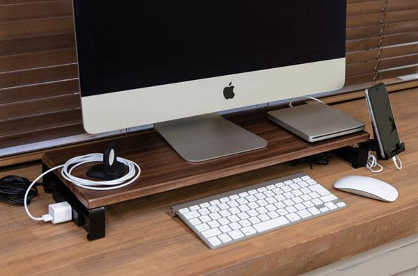 木製 ディスプレイ用ラック 卓上ラック コンセント付き 台 デスク用ラック 卓上台 - aimcube画像2