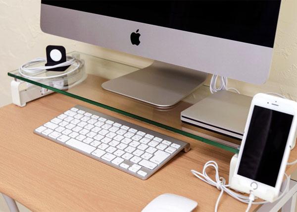 強化ガラス天板 ディスプレイ用 ラック 卓上ラック コンセント口 付 モニター用 ラック 携帯ホルダー付 - aimcube画像2