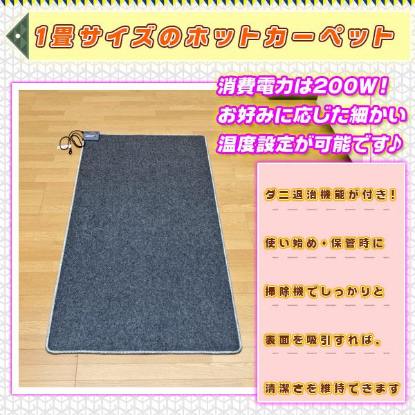 床暖房 カーペット 一畳 幅180cm 奥行90cm ダニ退治機能付 一人暮らし ホットカーペット 本体 - aimcube画像2