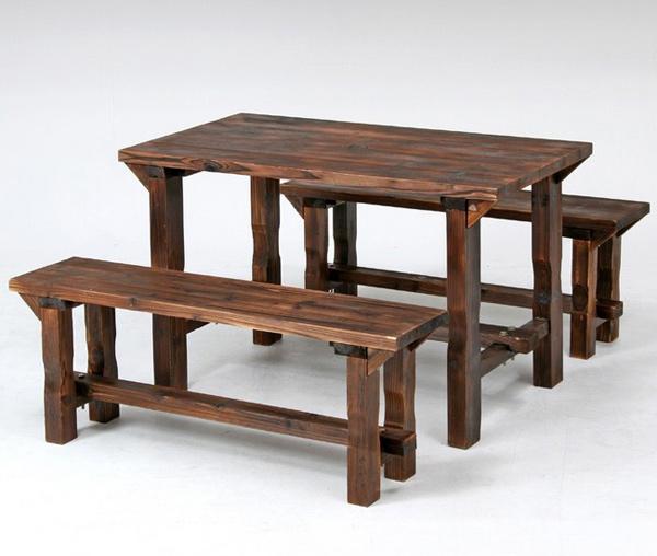 天然杉 テーブル ベンチ 105cm幅 - エイムキューブ画像1