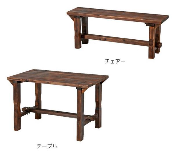 天然杉 テーブル ベンチ 105cm幅 - エイムキューブ画像3
