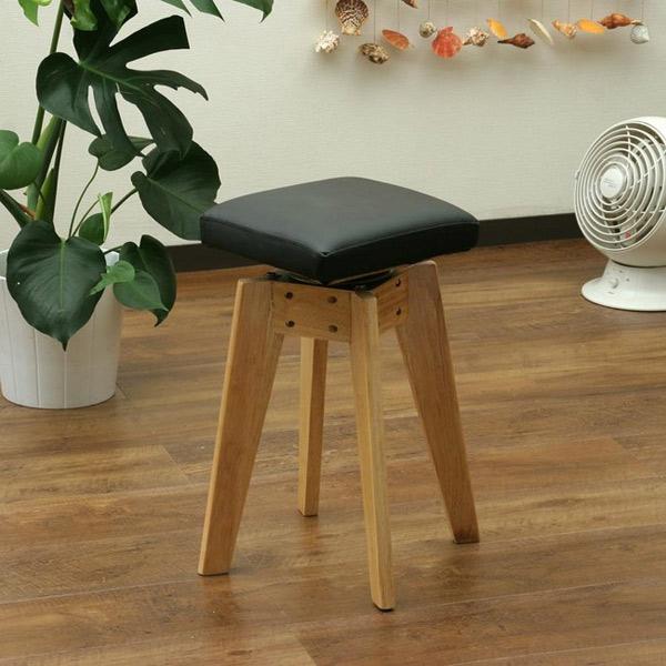 木製スツール 座面クッション 高さ49.5cm 回転スツール 玄関チェア 作業椅子 作業スツール 木製イス - エイムキューブ画像1