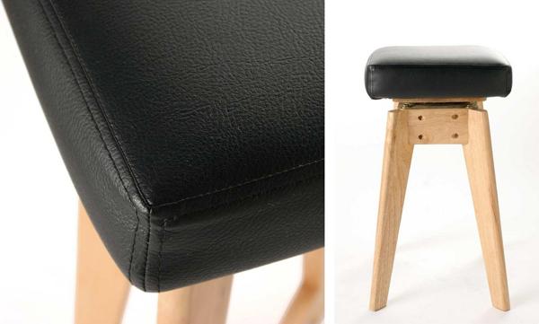 木製スツール 座面クッション 高さ49.5cm 回転スツール 玄関チェア 作業椅子 作業スツール 木製イス - エイムキューブ画像3
