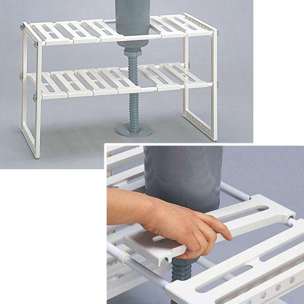 日本製 シンク下収納ラック 伸縮式キッチン棚 キッチンラック 国産 フライパン置きラック - エイムキューブ画像3